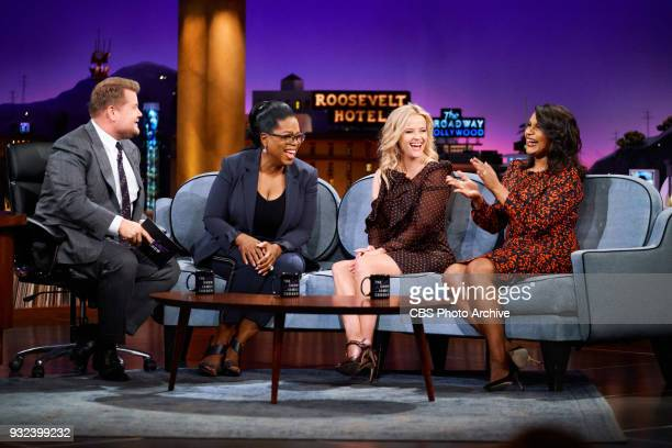 Oprah Winfrey Reese Witherspoon and Mindy Kaling chat with James Corden during The Late Late Show with James Corden Monday March 12 2018 On The CBS...