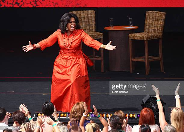 Oprah Winfrey revs up the audience on the set during the first taping of the 'Oprah Winfrey Show' at the on December 14 2010 in Sydney Australia...