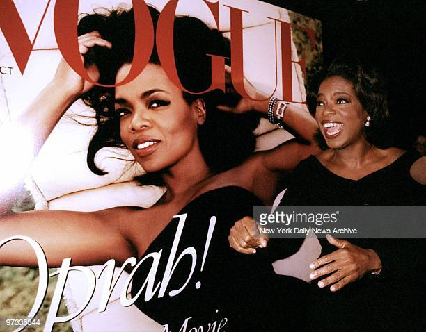 Oprah Winfrey seems to approve of blowup of her picture on the cover of Vogue's October issue at party at Balthazar