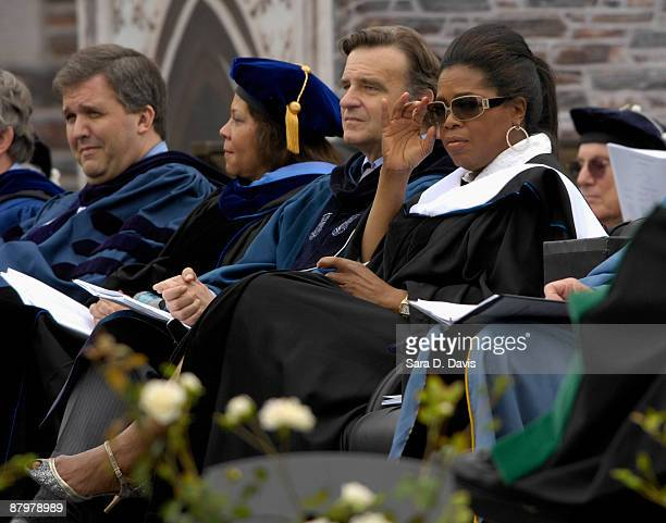Oprah Winfrey sits among Duke University faculty and honorees during the 2009 commencement ceremony at Duke University on May 10 2009 in Durham North...
