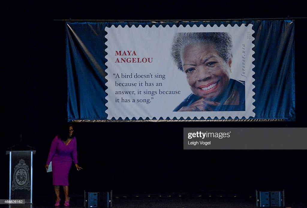 Oprah Winfrey speaks during a power outage at the Maya Angelou Forever Stamp Dedication at Warner Theatre on April 7, 2015 in Washington, DC.