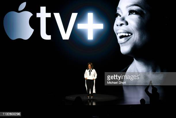 Oprah Winfrey speaks during an Apple product launch event at the Steve Jobs Theater at Apple Park on March 25 2019 in Cupertino California Apple...