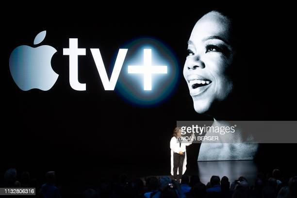 Oprah Winfrey speaks during an event launching Apple tv at Apple headquarters on March 25 in Cupertino California
