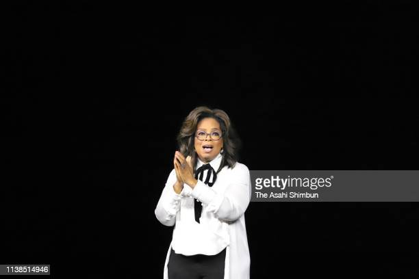 Oprah Winfrey speaks during the Apple product launch event at the Steve Jobs Theater at Apple Park on March 25 2019 in Cupertino California Apple...