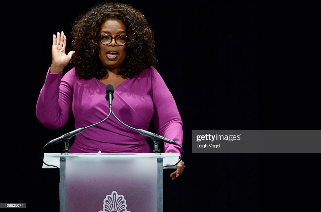 Oprah Winfrey speaks during the Maya Angelou Forever Stamp Dedication at Warner Theatre on April 7, 2015 in Washington, DC.