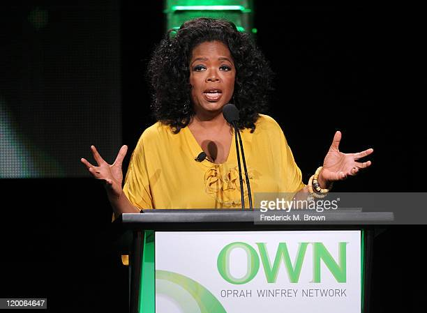 Oprah Winfrey speaks during the 'The Rosie Show' panel during the OWN portion of the 2011 Summer TCA Tour held at the Beverly Hilton Hotel on July 29...