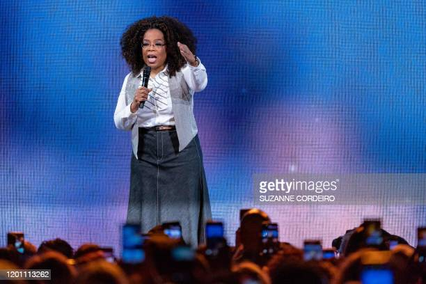 Oprah Winfrey speaks on stage during Oprah's 2020 Vision Your Life in Focus Tour presented by WW at American Airlines Center on February 15 2020 in...