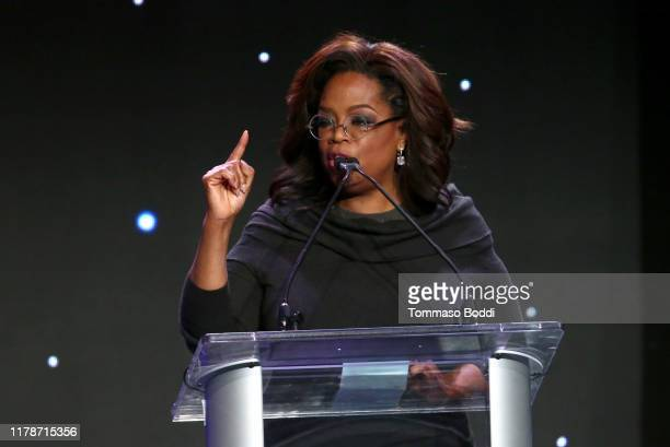 Oprah Winfrey speaks onstage during Save The Children's Centennial Celebration Once in a Lifetime at The Beverly Hilton Hotel on October 02 2019 in...