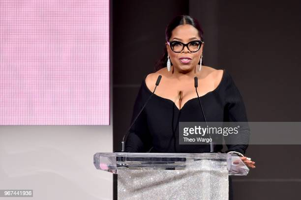 Oprah Winfrey speaks onstage during the 2018 CFDA Fashion Awards at Brooklyn Museum on June 4 2018 in New York City