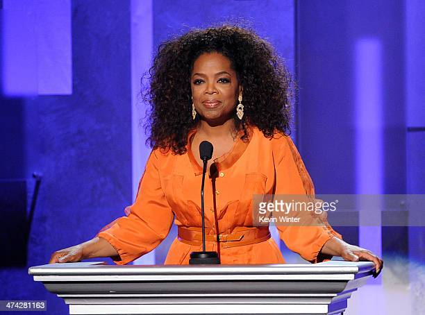 Oprah Winfrey speaks onstage during the 45th NAACP Image Awards presented by TV One at Pasadena Civic Auditorium on February 22 2014 in Pasadena...