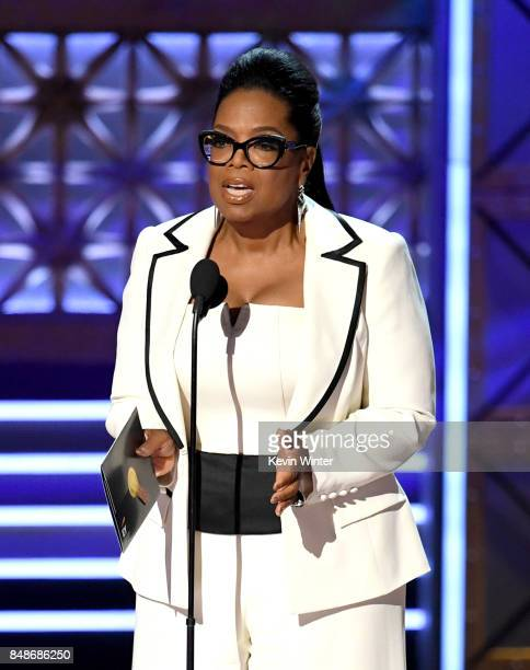 Oprah Winfrey speaks onstage during the 69th Annual Primetime Emmy Awards at Microsoft Theater on September 17 2017 in Los Angeles California