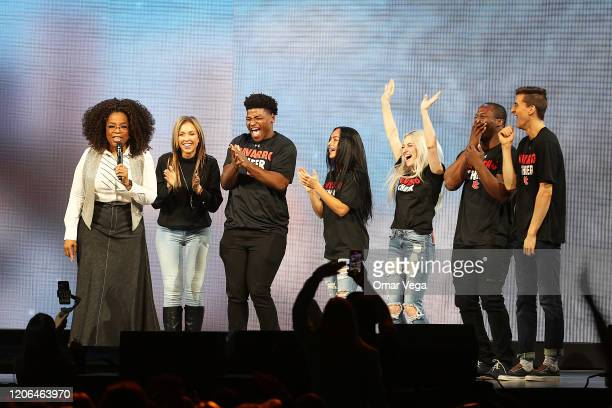 "Oprah Winfrey speaks with the cast of Netflix's ""Cheer"", Monica Aldama, Jerry Harris, Gabi Butler, Lexi Brumback, TT Barker and Dillon Brandt during..."