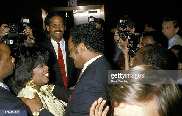 Oprah Winfrey Stedman Graham and Jesse Jackson during Mike Tyson vs Michael Spinks Fight at Trump Plaza June 27 1988 at Trump Plaza in Atlantic City...