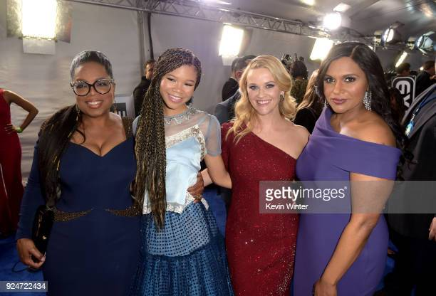 Oprah Winfrey Storm Reid Reese Witherspoon and Mindy Kaling attend the premiere of Disney's 'A Wrinkle In Time' at the El Capitan Theatre on February...