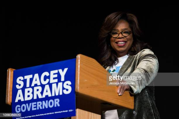 Oprah Winfrey talks to an audience about the importance of voting and her support of Georgia Democratic Gubernatorial candidate Stacey Abrams during...