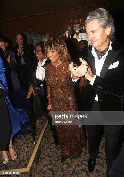 "Oprah Winfrey, Tina Turner and Erwin Bach arrive at the opening night of ""Tina - The Tina Turner Musical"" at Lunt-Fontanne Theatre on November 07,..."