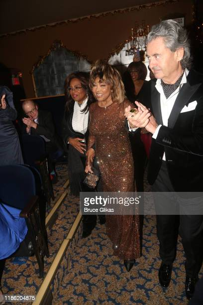 "Oprah Winfrey, Tina Turner and Erwin Bach attend the opening night of ""Tina - The Tina Turner Musical"" at Lunt-Fontanne Theatre on November 07, 2019..."