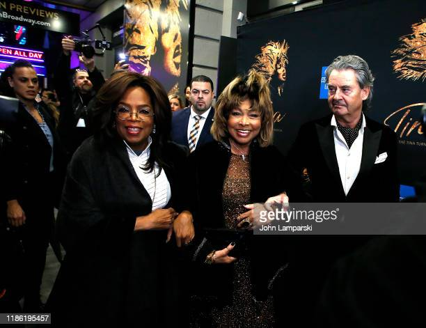 "Oprah Winfrey, Tina Turner and Erwin Bach attend ""Tina - The Tina Turner Musical"" opening night at Lunt-Fontanne Theatre on November 07, 2019 in New..."