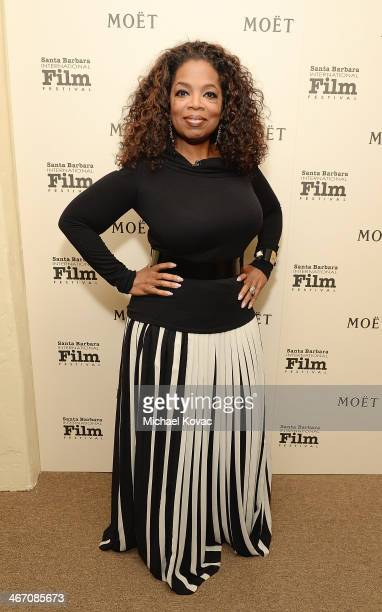 Oprah Winfrey visits The Moet Chandon Lounge before receiving the Montecito Award at The Santa Barbara International Film Festival at the Arlington...