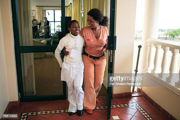 Oprah Winfrey with one of the girls that she interviewed for her school for unprivileged girls on August 12 2006 in Durban South Africa Oprah has...