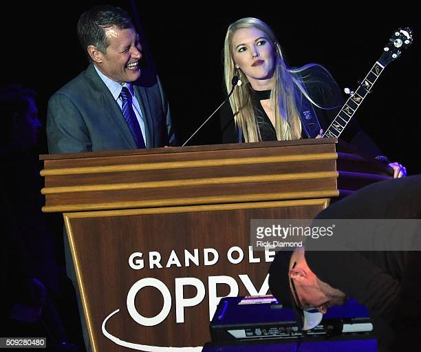 Opry Announcer WSM's Bill Cody and Singer/Songwriter Ashley Campbell attend Grand Ole Opry at CRS Day 1 at Omni Hotel on February 8 2016 in Nashville...
