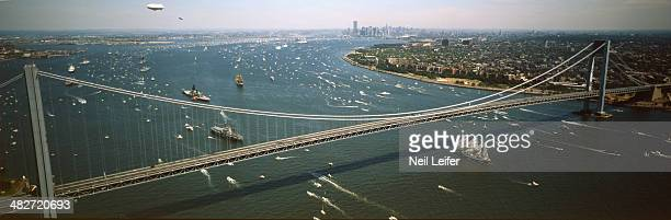 Salute to the Statue of Liberty Panoramic scenic view of the Parade of Ships passing under the Verrazano Narrows Bridge on the New York Harbor Aerial...