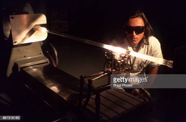 Optical fiber production flexible and transparent fiber made by drawing glass or plastic to a diameter slightly thicker than that of a human hair...