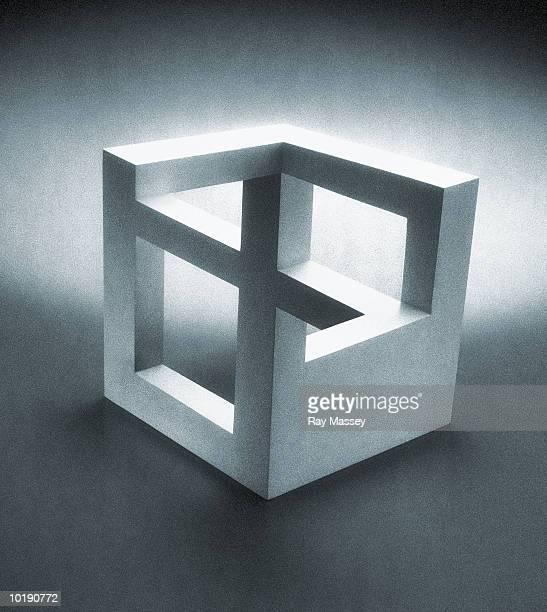 Optical illusion cube (B&W, Digital)