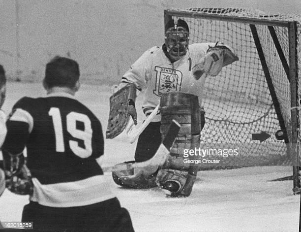Optical Illusion Gives San Francisco a Goal Against Denver Invaders; Pete Panagabko , San Francisco right wing, fires shot at Denver goalie Al Millar...