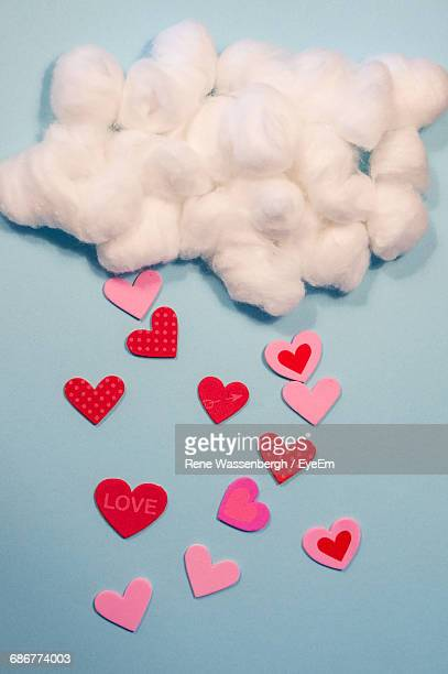 Optical Illusion Of Heart Shapes Raining From Cotton Ball Clouds