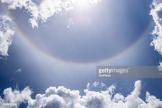 Optical phenomenon called Halo also known as a nimbus icebow or gloriole in UrlePoland on June 12 2016