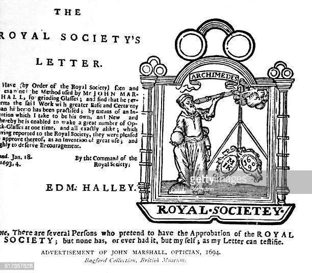 Optician sign advertisement featuring Archimedes the Greek Physicist mathmatician and inventor looking through a telescope The Royal Society's Letter...