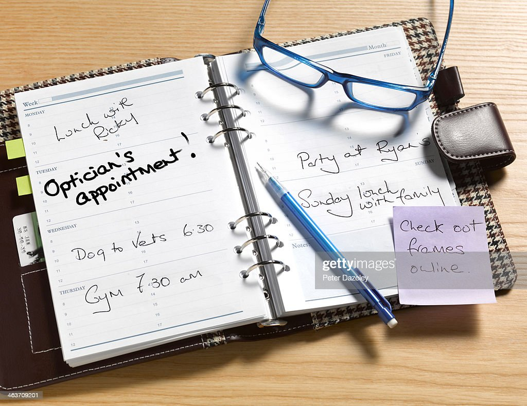 Optician's appointment diary : Stock Photo