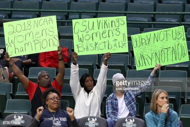 Optimistic Cleveland State Vikings fans in the stands during the third quarter of the women's college basketball game between the Ball State...