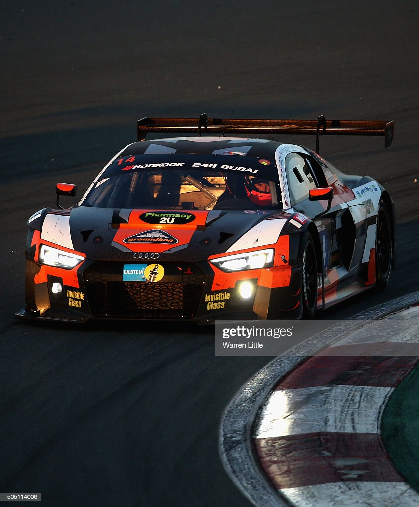 Optimum Motorsport, Audi R8 LMS races during the Hankook 24 Hours Dubai Race in the International Endurance Series at Dubai Autodrome on January 15, 2015 in Dubai, United Arab Emirates.