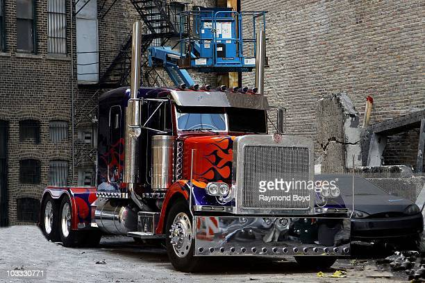 'Optimus Prime' sits in the staging area during Transformers 3 filming on Wacker Drive in Chicago Illinois on AUG 01 2010