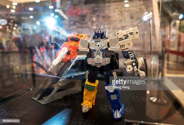 Optimus Prime's toys of various versions exhibited in a shopping mall to propaganda for the new film Transformers 5 the last knight Transformers 5...