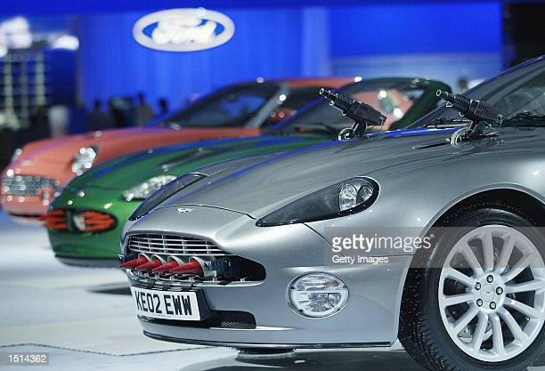 Optional extras on the Aston Martin Vanquish car from the new James Bond film Die Another Day are on display during the 2002 British International...