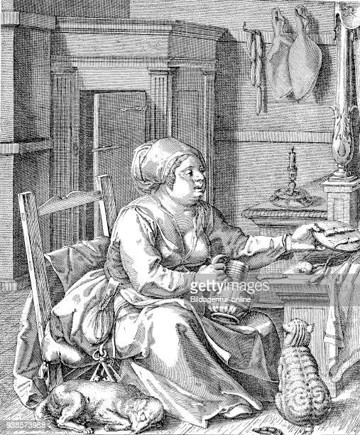 Opulence fat peasant woman in her room with dog and cat engraving after Jodocus Winghe digital improved reproduction from a publication of the year...