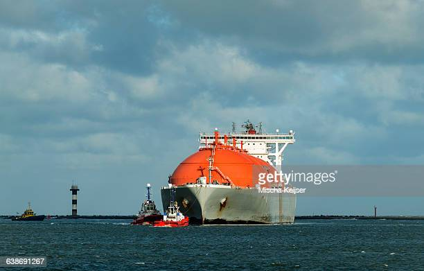LNG or liquid natural gas tanker entering Rotterdam harbour, to dock at a the new LNG terminal