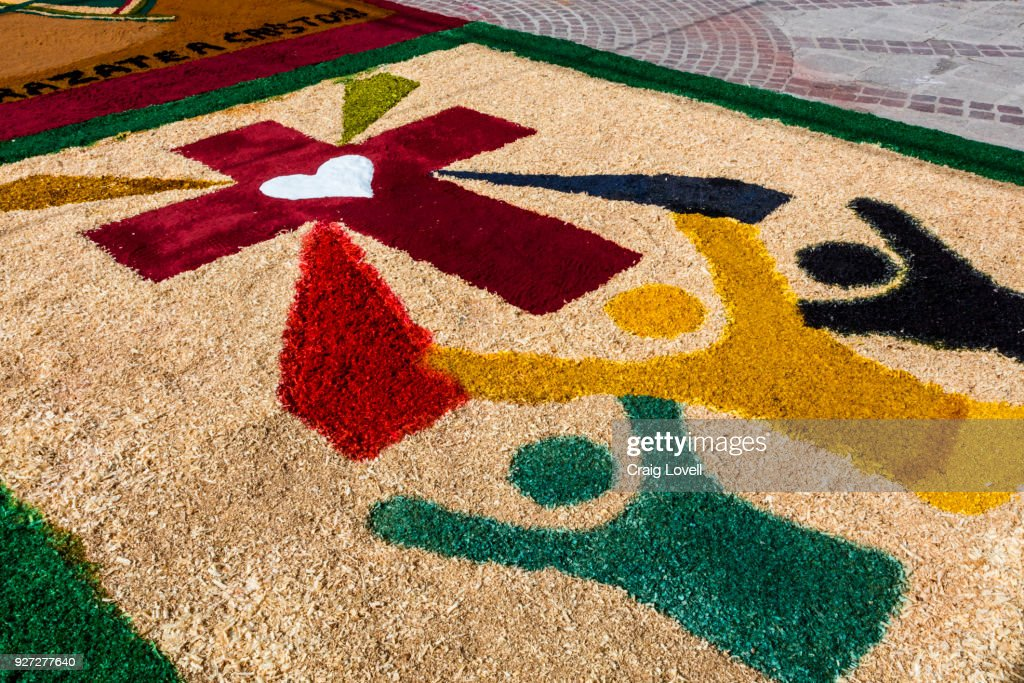 ALFOMBRAS or religious temporary carpets is set up at the San Antonio Church during Christmas -
