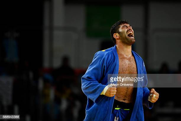 Or Sasson of Israel reacts to defeating Alex Maxell Garcia Mendoza of Cuba for the Bronze during men's over 100kg judo action at Rio 2016 on Friday...