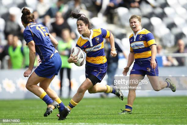 Ora Williams of Bay of Plenty makes a break during the round six Farah Palmer Cup match between Otago and Bay of Plenty at Forsyth Barr Stadium at...