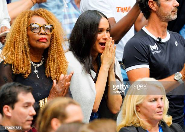 Oracene Price and Meghan Duchess of Sussex watches Serena Williams at the 2019 US Open Women's final on September 07 2019 in New York City