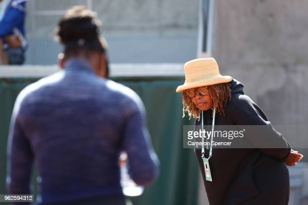Oracene Price looks at her daughter Serena Williams of the United States during a practice session ahead of the French Open at Roland Garros on May...