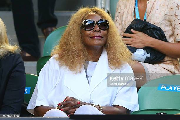 Oracene Price mother of Serena Williams of the United States watches her in the Women's Singles Final match against Angelique Kerber of Germany...
