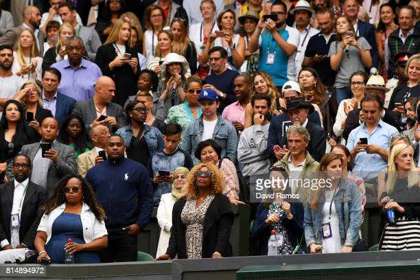 Oracene Price mother of Venus Williams looks on after her defeat in the Ladies Singles final against Garbine Muguruza of Spain on day twelve of the...