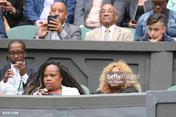 Oracene Price mother of Venus Williams watching the Ladies Singles Final between Garbine Muguruza of Spain and Venus Williams of The United States in...