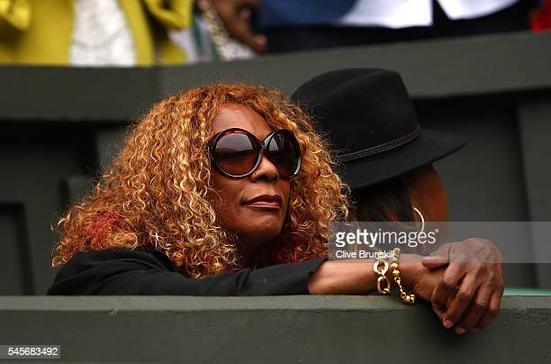 Oracene Price watches on as Serena Williams of The United States and Angelique Kerber of Germany play in the Ladies Singles Final match on day twelve...