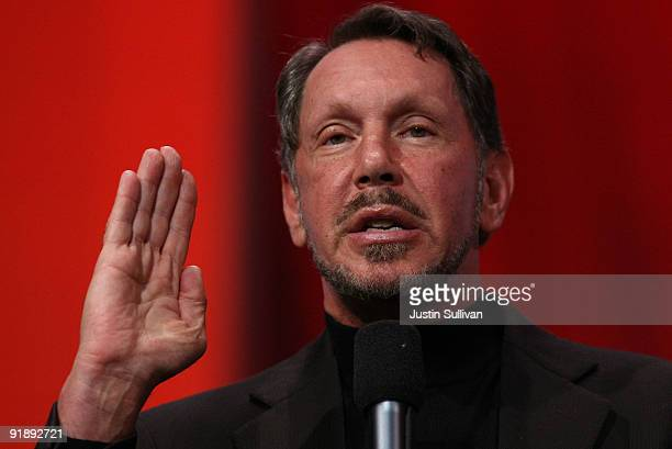 Oracle CEO Larry Ellison delivers a keynote address at the 2009 Oracle Open World conference October 14 2009 in San Francisco California Ellison...